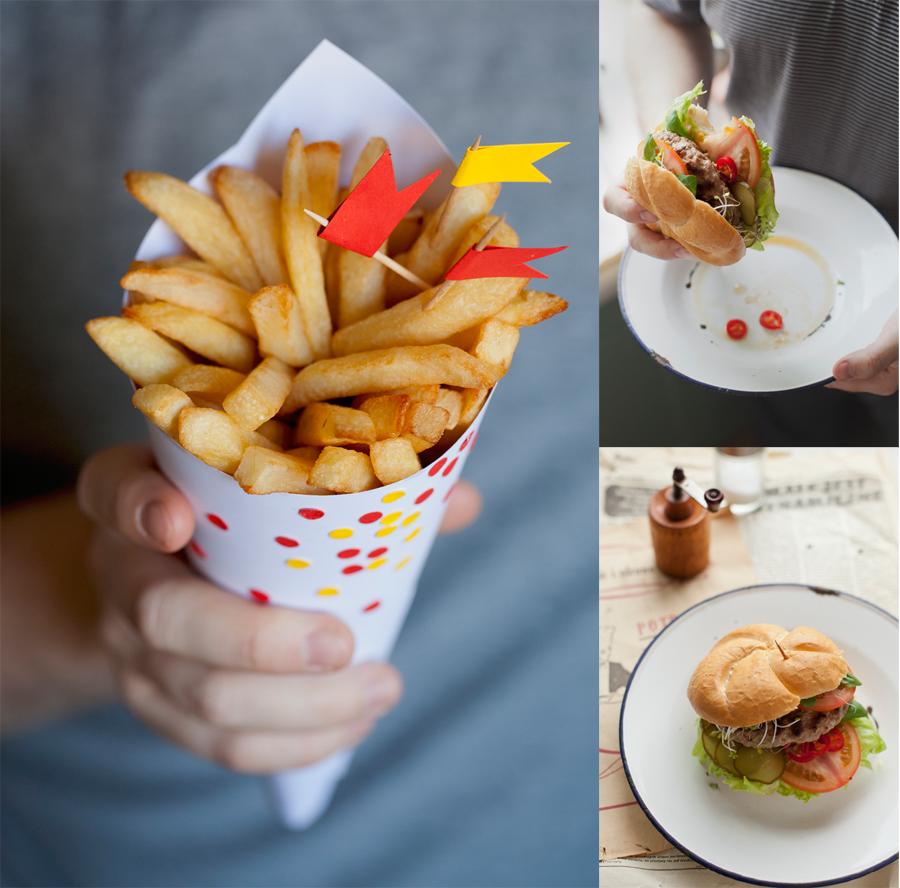 fotografia kulinarna frytki i hamburger