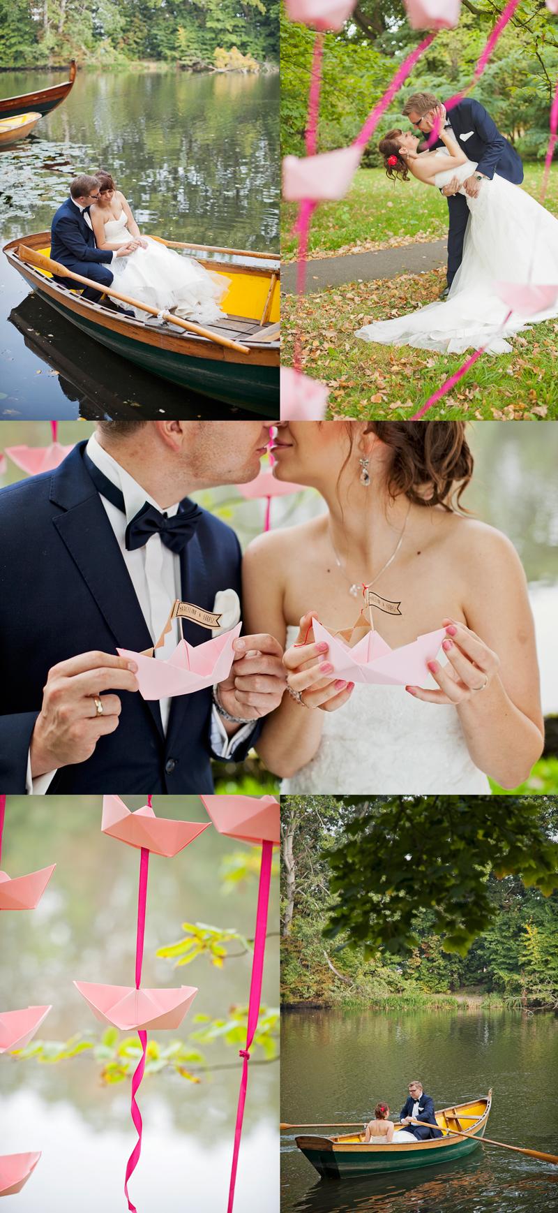 plener ślubny w wilanowie z łódkami