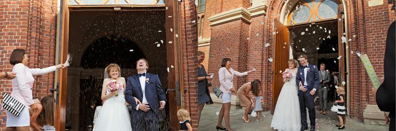 zdjęcia ślubne wyjście z kościoła łódź